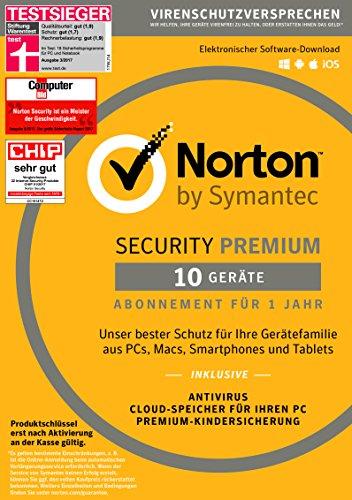 Symantec Norton Security Premium | 10 Geräte | PC/Mac/Smartphone/Tablet | Download