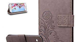 Klee Blumen:Grau – Galaxy S3 Mini Hülle,Galaxy S3 Mini Schutzhülle,Galaxy S3 Mini Case,Galaxy S3 Mini Leder Wallet Tasche Brieftasche Schutzhülle,ikasus® Prägung Klee Blumen Muster PU Lederhülle Flip Hülle im Bookstyle Cover Schale Stand Ständer Etui Karten Slot Schutzhülle Grau Tasche Wallet Case für Samsung Galaxy S3 Mini I8190