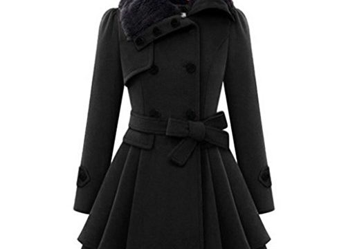 Kavitoz Damen Winter Mantel mit Knopf Elegante Schlank Jacke Party Mode Warm Oberteile Outwear Schwarz, XXL