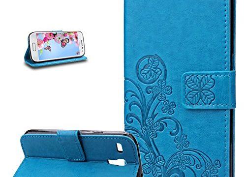 Galaxy S3 Mini Hülle,Galaxy S3 Mini Schutzhülle,Galaxy S3 Mini Case,Galaxy S3 Mini Leder Wallet Tasche Brieftasche Schutzhülle,ikasus® Prägung Klee Blumen Muster PU Lederhülle Flip Hülle im Bookstyle Cover Schale Stand Ständer Etui Karten Slot Schutzhülle Blau Tasche Wallet Case für Samsung Galaxy S3 Mini I8190 – Klee Blumen:Blau