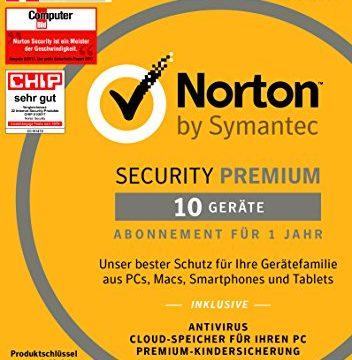 Norton Security Premium Antivirus Software 2018 / Zuverlässiger Virenschutz Jahres-Abonnement für bis zu 10 Geräte inkl. Familienschutz Kindersicherung / Download für Windows, Mac, Android & iOS