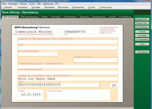 Bankformulare – auch für SEPA Überweisungen, SEPA Verrechnungsschecks und weiter SEPA – bits&paper BP0014 WinBankformular 5.1 Software Software für Bankformular-Management