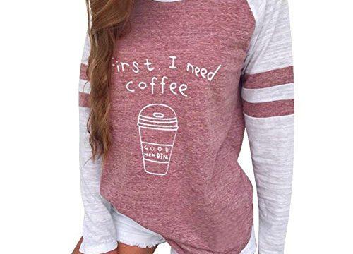 Kavitoz Damen Patchwork T Shirt Pullover Frau Gestreift Schick Elegant Sport Sweatshirt Blusen Tops mit Süß Muster L, Rot