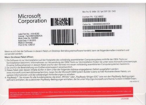 Windows Professional 10 64bit OEM DVD DE Inklusive Krolltech Kundensupport