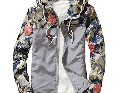 Jacke Herren DAY.LIN Männer Schlank Stehkragen Jacken Mode Sweatshirt Jacke Oberteile Lässiger Mantel Outwear Lässige Herren Sportjacken grau, L=EUM