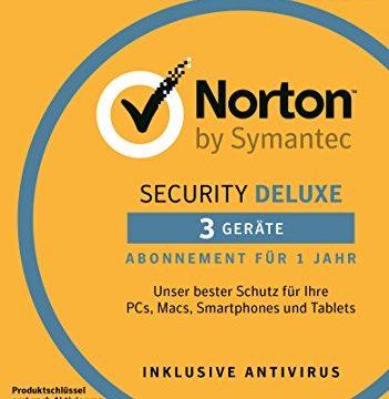 Norton Security Deluxe Antivirus Software 2018 / Zuverlässiger Virenschutz Jahres-Abonnement für bis zu 3 Geräte / Download für Windows u.a. Vista, 8 & 10, Mac, Android & iOS