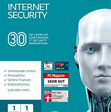 ESET Internet Security 2018 | 1 User | 1 Jahr Virenschutz | Windows 10, 8, 7 und Vista | Download