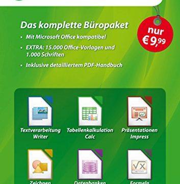 LibreOffice Software 5.3 Special Edition für Windows 10, 8.1, 7, Vista und XP – kompatibel zu Microsoft Office Word, Excel, PowerPoint und Office 365 inkl. PDF Handbuch, 15.000 Office Vorlagen
