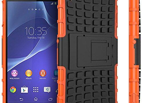 Nnopbeclik Sony Xperia Z3 Hülle, Dual Layer Rugged Armor stoßfest Handy Schutzhülle Silikon Tasche für Sony Xperia Z3 – Orange + 1x Display Schutzfolie Folie