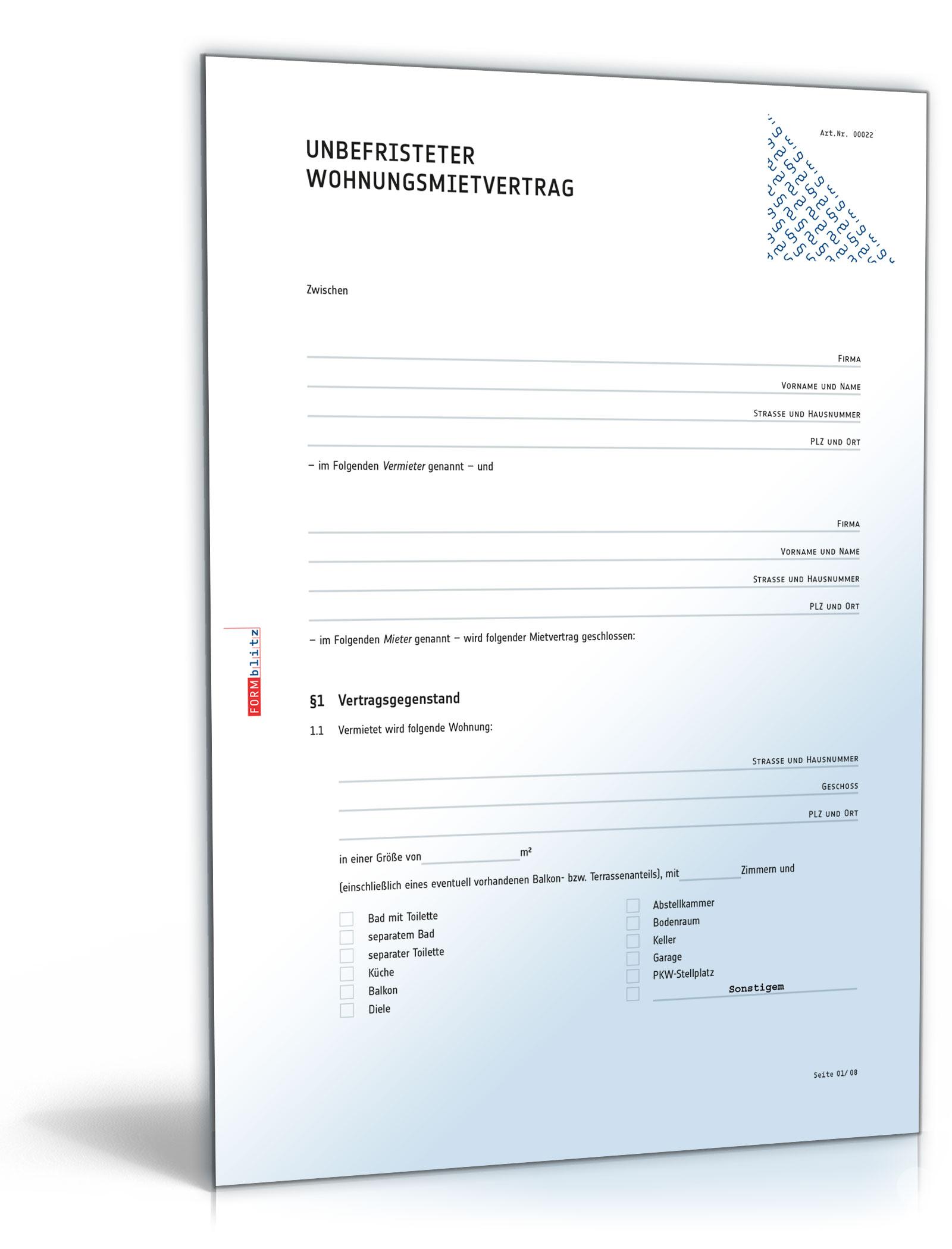 standardmietvertrag fr eine wohnung download mietvertrag pdf - Ubergabeprotokoll Mietwohnung Muster