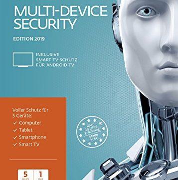 ESET Multi-Device Security 2019 | 5 User | 1 Jahr Virenschutz | Windows 10, 8, 7 und Vista, macOS, Linux und Android | Frustfreie Verpackung