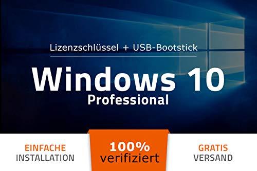Bootfähig – für alle Geräte auch ohne CD/DVD Laufwerk – 100% verifiziert – Original Lizenzschlüssel – Microsoft® Windows 10 Professional PRO – USB-Stick von EXITOSOFT – 32 Bit / 64 Bit – Deutsch