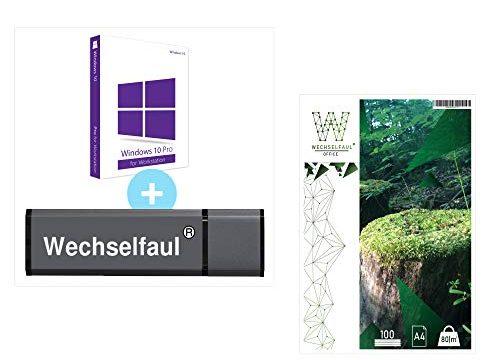 Microsoft Windows 10 Pro Workstation 32 bit / 64 bit Original Lizenzschlüssel mit bootfähigen USB Stick und 100 Blatt Kopierpapier von Wechselfaul