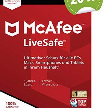 McAfee Live Safe 2018 für eine unbegrenzte Anzahl an Geräten | 1 Jahr | PC/Mac/Smartphone/Tablet Online Code Online Code