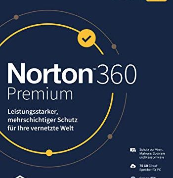 Norton 360 Premium 2020   10 Geräte   Secure VPN und Passwort-Manager   PC, Mac oder Mobilgerät   1 Jahr Download
